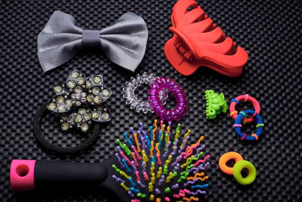 Multicolored hair accessories