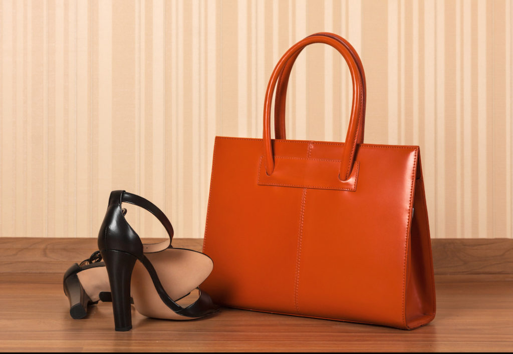 Classic leather bag and high heel sandals