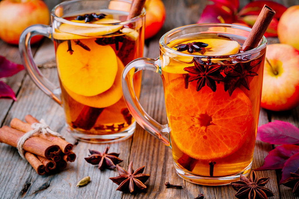 delicious mulled wine white with orange slices