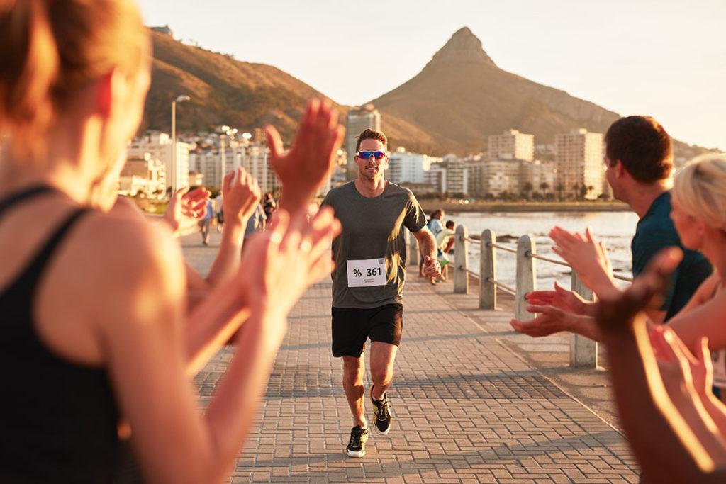 Marathon runner crosses the finish line